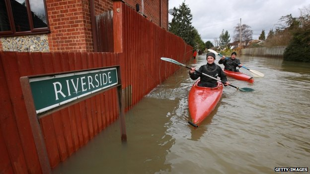 Residents in flooded Wraysbury, Berkshire