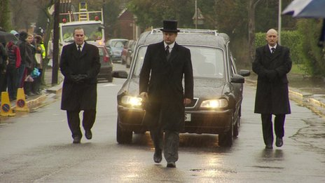 Funeral cortege at the Archbishop Tenison School