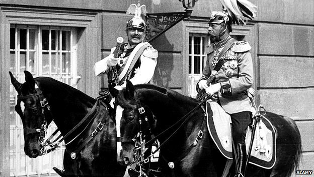 Germany's Wilhelm II and Britain's King George V horse riding in Berlin (c) Alamy