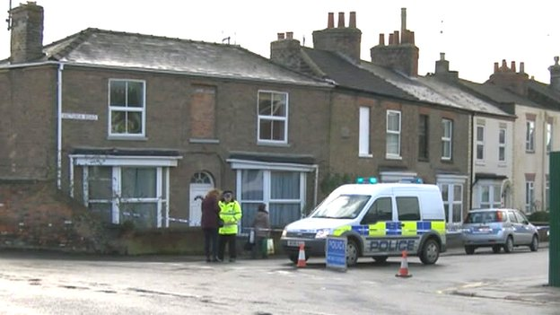 Police at Victoria Road, Wisbech