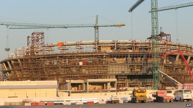 Al-Sadd Sports Hall under construction in Qatar (23 December 2013)