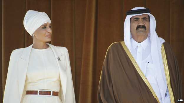 Sheikha Moza and Hamad bin Khalifa Al Thani in 2011