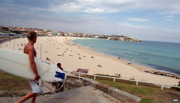 Surfer with his surfboard at Bondi Beach near Sydney