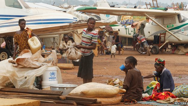 Displaced people at a camp at Bangui airport on 11 February 2014