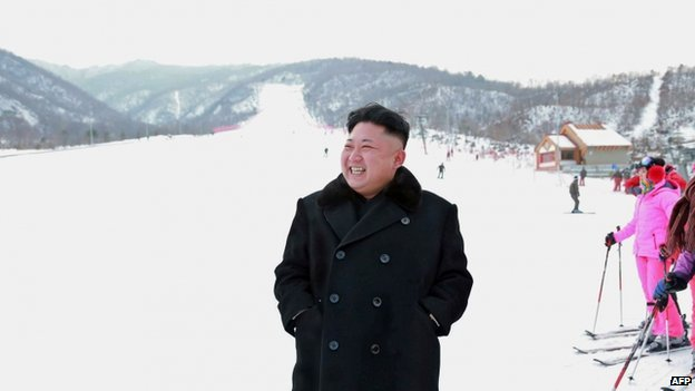 This undated picture released by North Korea's official Korean Central News Agency (KCNA) on 31 December 2013 shows North Korean leader Kim Jong-un inspecting a ski resort on Masik Pass to be completed in Kangwon province