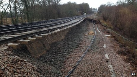 Damage caused to track near Stonegate, Sussex, following a landslip
