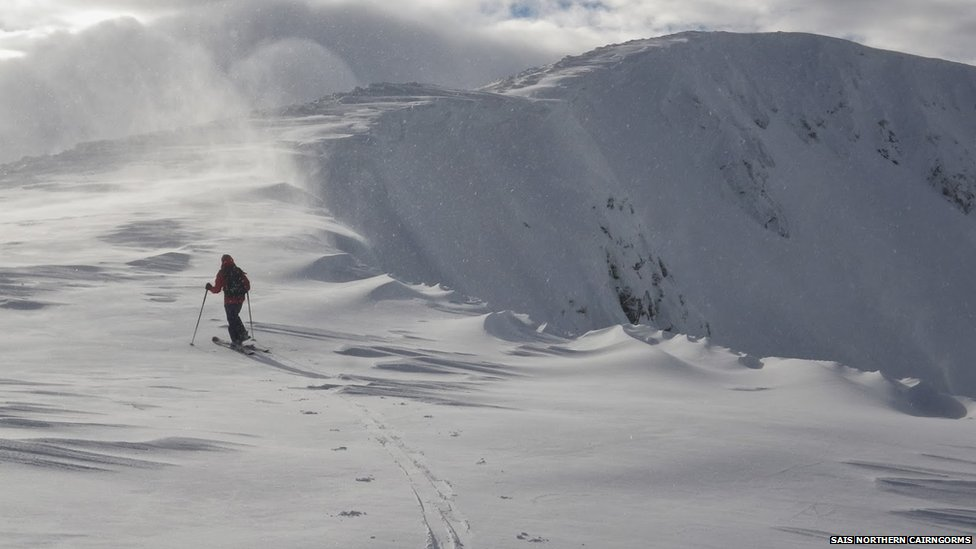 Skier and cornices in Northern Cairngorms