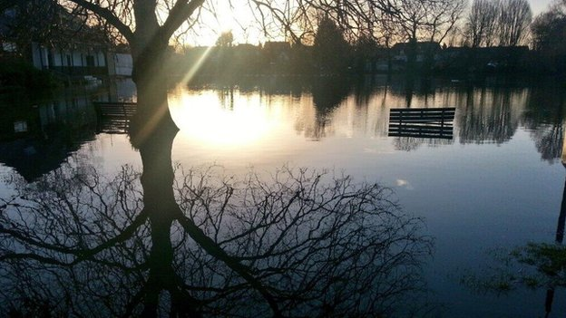 Flooding on Wraysbury cricket pitch