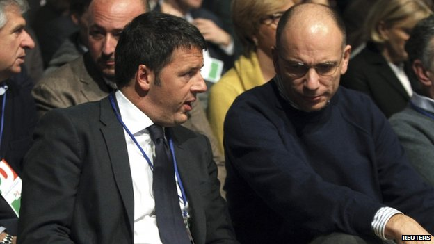 Matteo Renzi (L) with PM Enrico Letta (file pic Dec 2013)