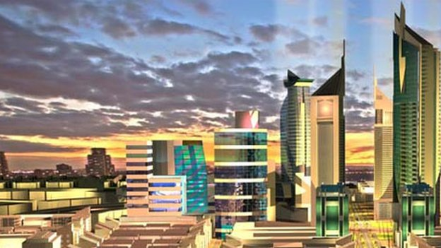 Artist's drawing of Konza, a new city intended to be an IT business hub