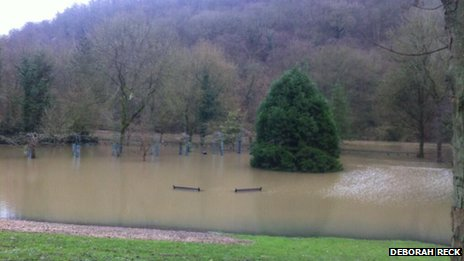 Flooding at Dale End Park in Ironbridge