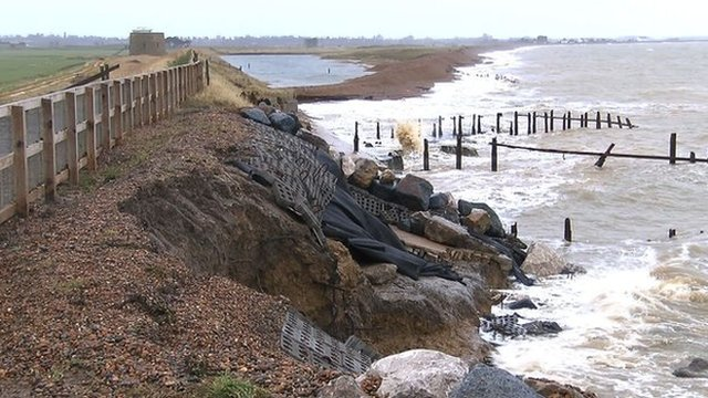 Damaged sea defences at Bawdsey