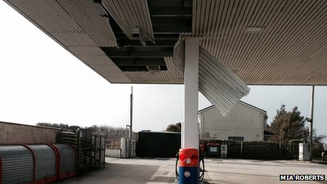 storm damage at Square and Compass petrol station