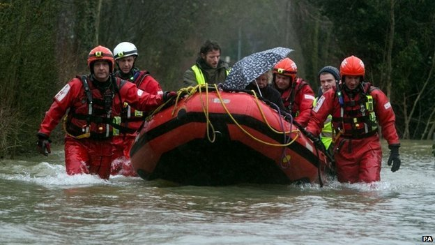 Emergency services working to rescue stranded residents in Wraysbury, Berkshire