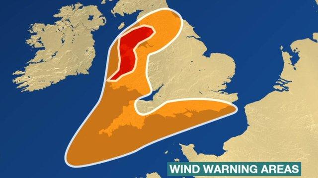 Wind warning areas