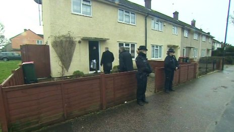 Anti-terror police search the house in Langley Green, Crawley