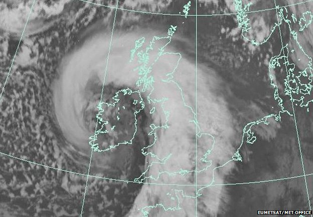 satellite image of the storm over the UK