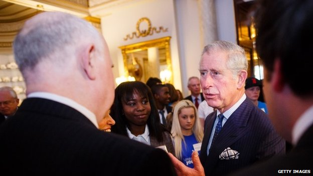 Prince Charles talking to Barry and Margaret Mizen