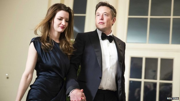 Entrepreneur Elon Musk (right) and his wife Talulah Musk arrived for the State Dinner at the White House in Washington on 11 February 2014