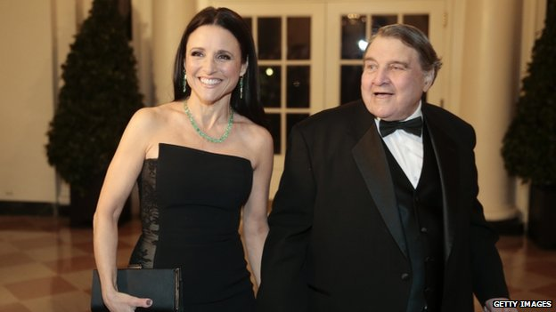 Actress Julia Louis-Dreyfus (left) and her father William Louis-Dreyfus arrived to a state dinner at the White House in Washington DC on 11 February 2014