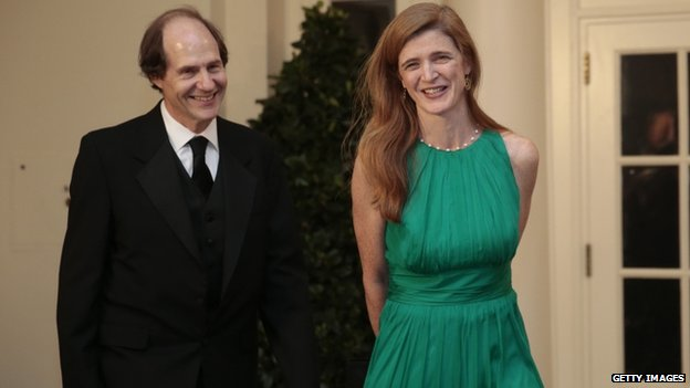 US ambassador to the United Nations Samantha Power (right) and her husband Cass Sunstein arrived to a state dinner at the White House in Washington DC on 11 February 2014