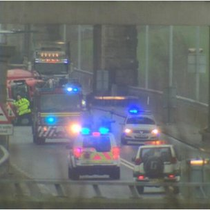 Crash on Britannia Bridge over to Anglesey