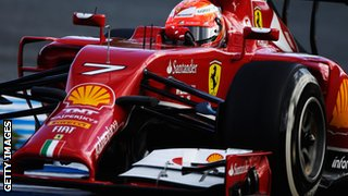 Kimi Raikkonen tests new Ferrari car in Jerez