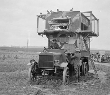 A bus adapted as a carrier pigeon loft during the war