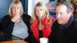 Amanda Broughton-South with her business partner and David Cameron