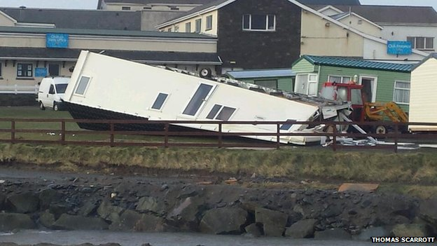A caravan was blown over by the strong winds in Aberystwyth
