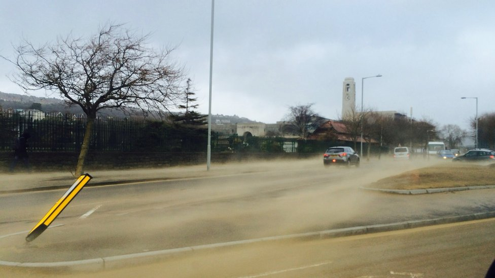 Sandstorm in road in Swansea