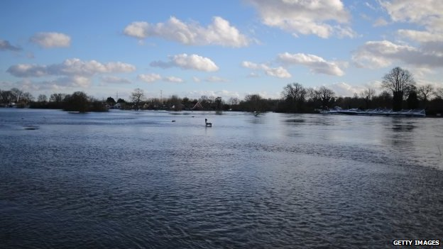 A view of the flooded River Thames at Chertsey Bank
