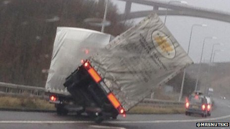 M62 lorry blown over