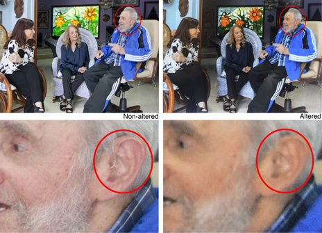 Composite of photos showing Fidel Castro with hearing aid, and with it digitally altered