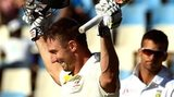Australia batsman Shaun Marsh celebrates his century in Pretoria