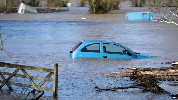 A car in the floodwater at Burrowbridge, Somerset