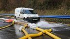 Water being pumped away from Kenley water treatment works in Croydon
