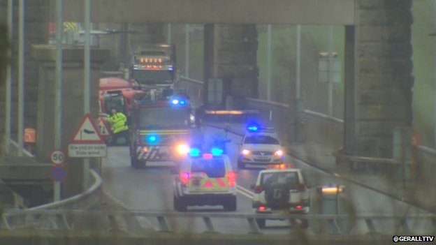 Britannia Bridge closed and emergency services attending overturned lorry