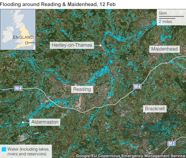Map: Flooding around Reading and Maidenhead
