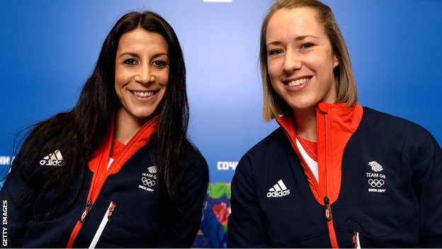 Great Britain's Shelley Rudman (left) and Lizzy Yarnold
