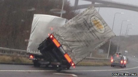Lorry blows over on the M62