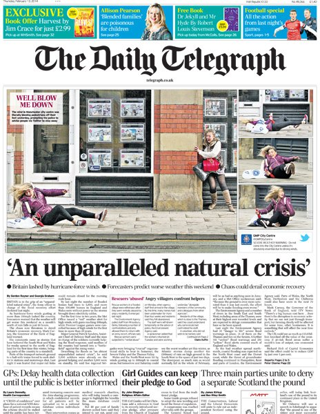 Daily Telegraph front page, 13/2/14