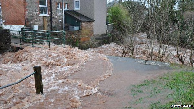 Wind and rain caused flooding in Talgarth, Powys