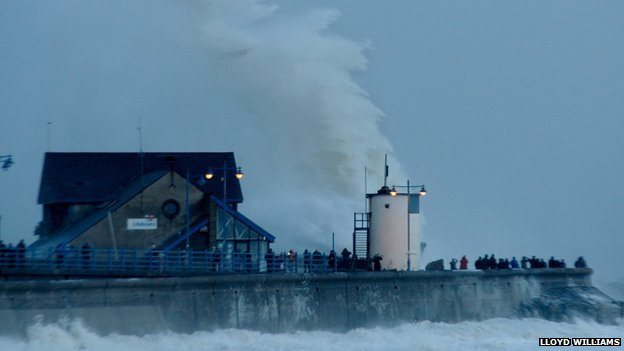 Porthcawl's lighthouse took another battering from strong waves