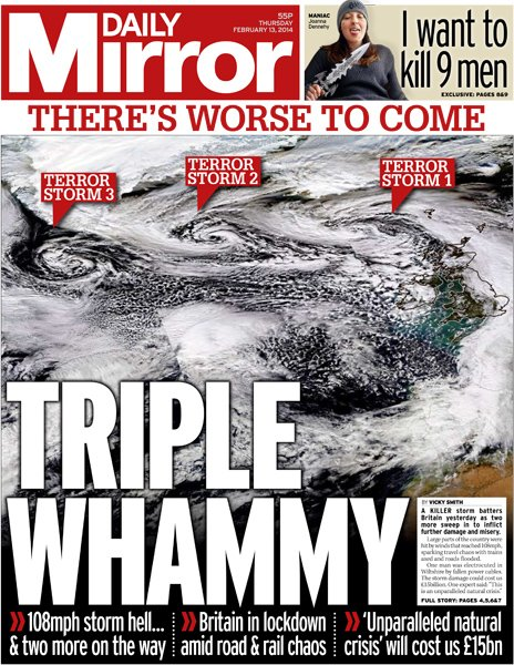 Daily Mirror front page, 13/2/14