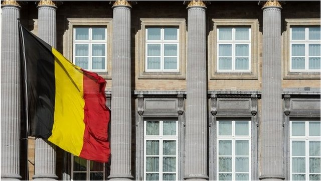 Belgium's national flag flies outside the parliament building in Brussels. Photo: 12 February 2014
