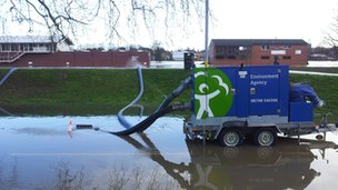Pump in flood water
