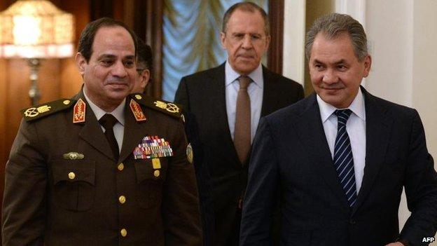 (L-R) Field Marshal Sisi, Sergei Lavrov, Sergei Shoigu, 13 Feb