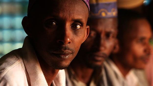 Muslim men sheltering in St Peter's Parish Church in Boali, CAR