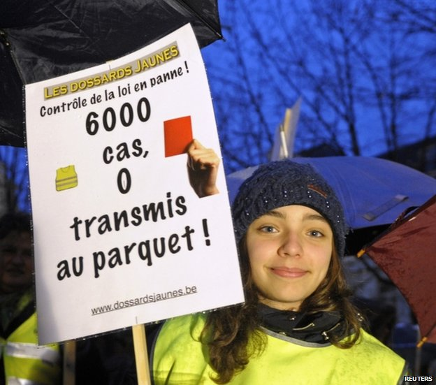 A protester in Belgium (11 Feb 2014)